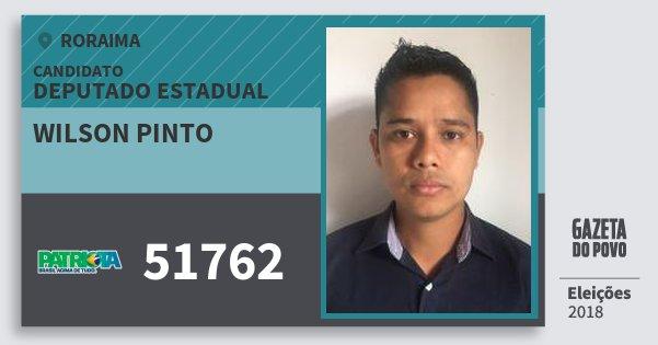 Santinho Wilson Pinto 51762 (PATRI) Deputado Estadual | Roraima | Eleições 2018