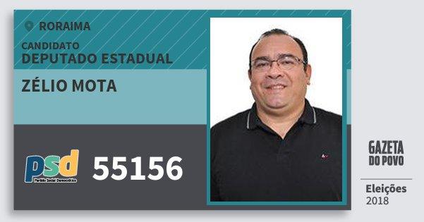 Santinho Zélio Mota 55156 (PSD) Deputado Estadual | Roraima | Eleições 2018