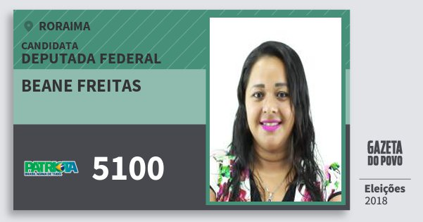 Santinho Beane Freitas 5100 (PATRI) Deputada Federal | Roraima | Eleições 2018