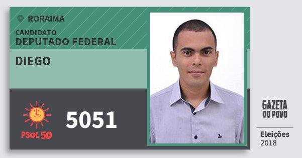 Santinho Diego 5051 (PSOL) Deputado Federal | Roraima | Eleições 2018