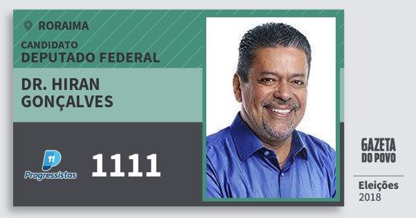 Santinho Dr. Hiran Gonçalves 1111 (PP) Deputado Federal | Roraima | Eleições 2018