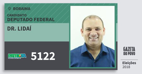 Santinho Dr. Lidaí 5122 (PATRI) Deputado Federal | Roraima | Eleições 2018