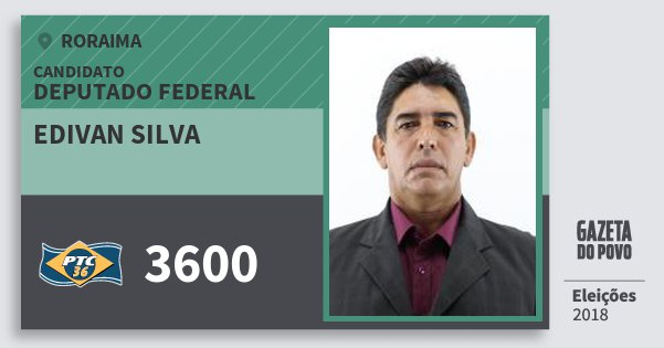 Santinho Edivan Silva 3600 (PTC) Deputado Federal | Roraima | Eleições 2018