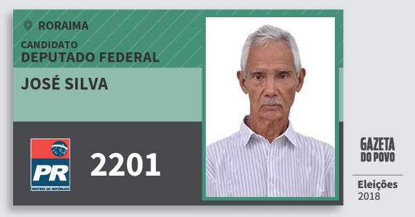 Santinho José Silva 2201 (PR) Deputado Federal | Roraima | Eleições 2018