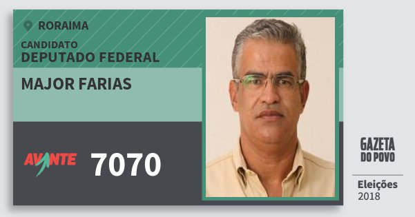 Santinho Major Farias 7070 (AVANTE) Deputado Federal | Roraima | Eleições 2018