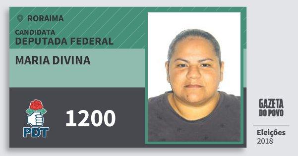 Santinho Maria Divina 1200 (PDT) Deputada Federal | Roraima | Eleições 2018