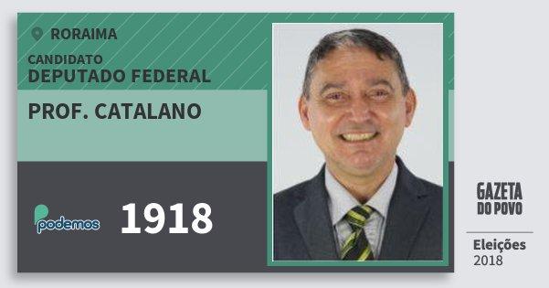 Santinho Prof. Catalano 1918 (PODE) Deputado Federal | Roraima | Eleições 2018
