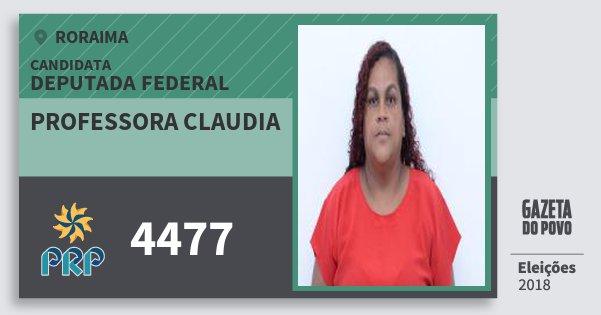 Santinho Professora Claudia 4477 (PRP) Deputada Federal | Roraima | Eleições 2018