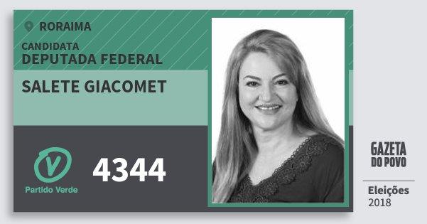 Santinho Salete Giacomet 4344 (PV) Deputada Federal | Roraima | Eleições 2018