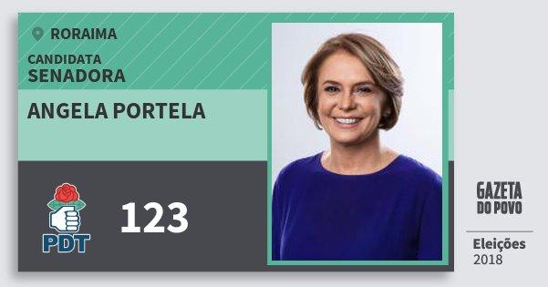 Santinho Angela Portela 123 (PDT) Senadora | Roraima | Eleições 2018