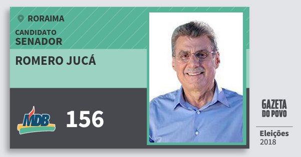 Santinho Romero Jucá 156 (MDB) Senador | Roraima | Eleições 2018