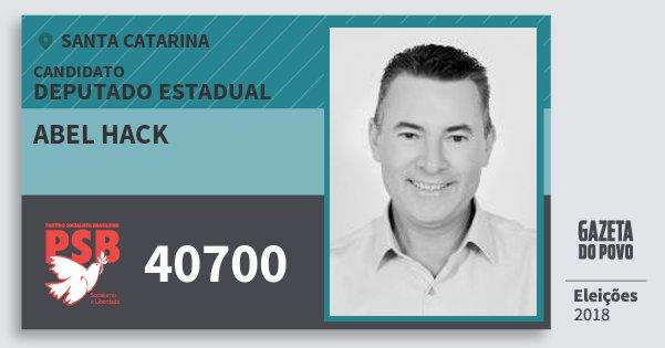 Santinho Abel Hack 40700 (PSB) Deputado Estadual | Santa Catarina | Eleições 2018