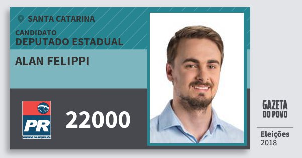 Santinho Alan Felippi 22000 (PR) Deputado Estadual | Santa Catarina | Eleições 2018