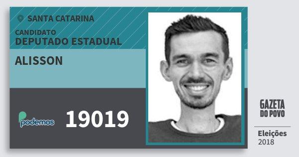 Santinho Alisson 19019 (PODE) Deputado Estadual | Santa Catarina | Eleições 2018