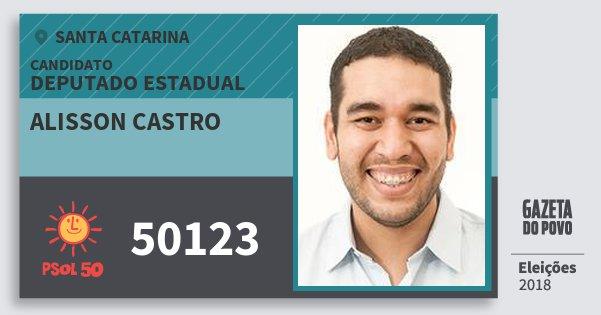 Santinho Alisson Castro 50123 (PSOL) Deputado Estadual   Santa Catarina   Eleições 2018
