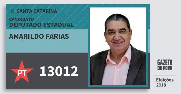 Santinho Amarildo Farias 13012 (PT) Deputado Estadual | Santa Catarina | Eleições 2018