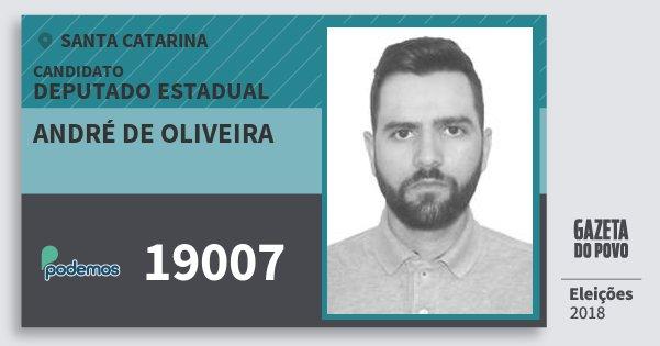 Santinho André de Oliveira 19007 (PODE) Deputado Estadual | Santa Catarina | Eleições 2018