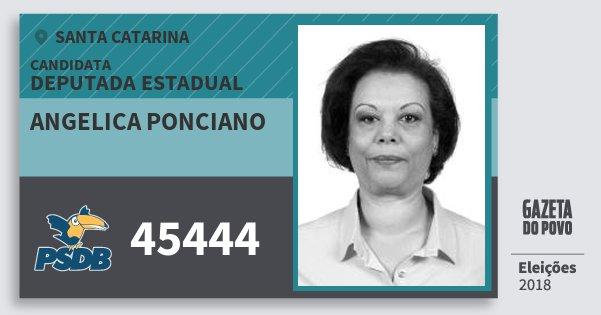 Santinho Angelica Ponciano 45444 (PSDB) Deputada Estadual | Santa Catarina | Eleições 2018
