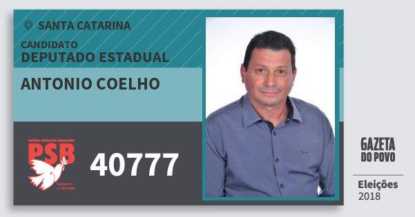 Santinho Antonio Coelho 40777 (PSB) Deputado Estadual | Santa Catarina | Eleições 2018