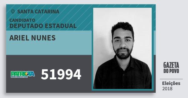 Santinho Ariel Nunes 51994 (PATRI) Deputado Estadual | Santa Catarina | Eleições 2018