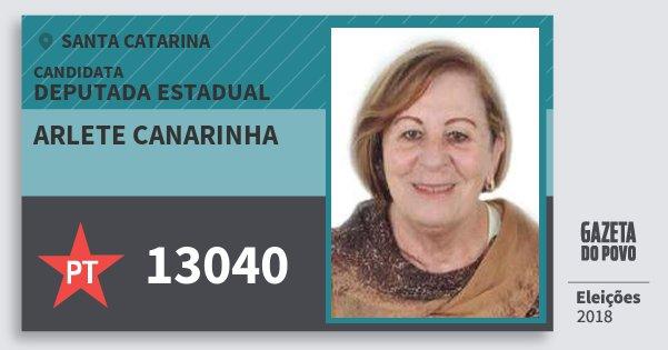Santinho Arlete Canarinha 13040 (PT) Deputada Estadual | Santa Catarina | Eleições 2018