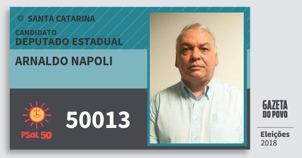Santinho Arnaldo Napoli 50013 (PSOL) Deputado Estadual   Santa Catarina   Eleições 2018