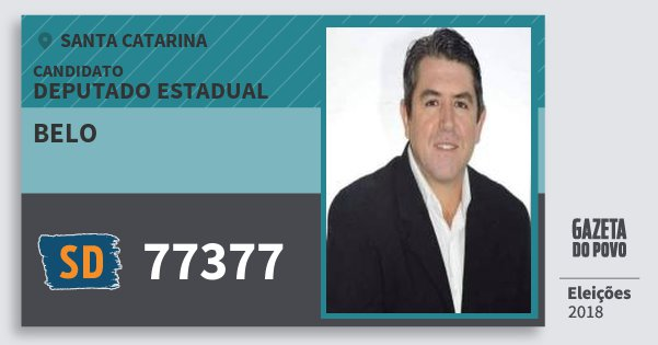Santinho Belo 77377 (SOLIDARIEDADE) Deputado Estadual | Santa Catarina | Eleições 2018
