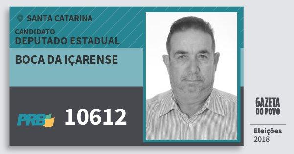 Santinho Boca da Içarense 10612 (PRB) Deputado Estadual | Santa Catarina | Eleições 2018