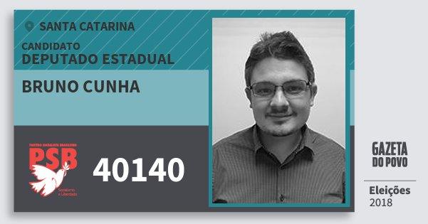 Santinho Bruno Cunha 40140 (PSB) Deputado Estadual | Santa Catarina | Eleições 2018