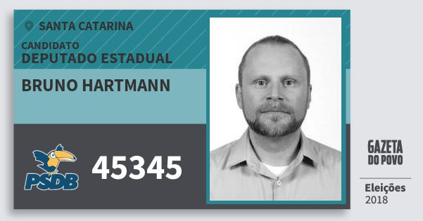 Santinho Bruno Hartmann 45345 (PSDB) Deputado Estadual | Santa Catarina | Eleições 2018