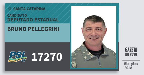 Santinho Bruno Pellegrini 17270 (PSL) Deputado Estadual | Santa Catarina | Eleições 2018