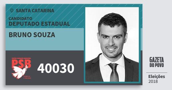 Santinho Bruno Souza 40030 (PSB) Deputado Estadual | Santa Catarina | Eleições 2018