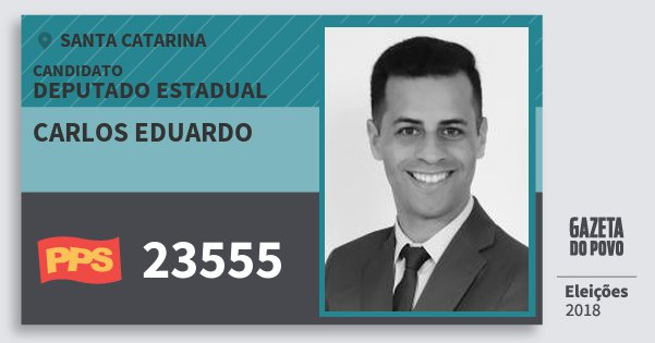 Santinho Carlos Eduardo 23555 (PPS) Deputado Estadual | Santa Catarina | Eleições 2018