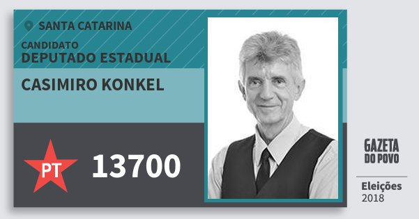 Santinho Casimiro Konkel 13700 (PT) Deputado Estadual | Santa Catarina | Eleições 2018