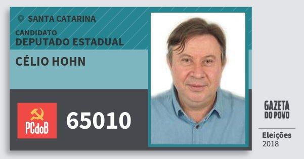 Santinho Célio Hohn 65010 (PC do B) Deputado Estadual | Santa Catarina | Eleições 2018