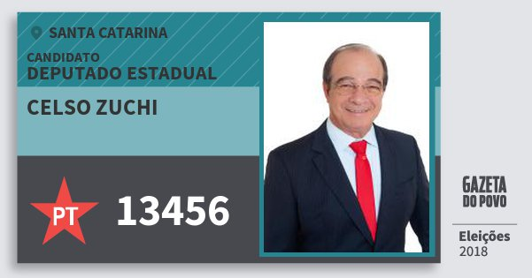 Santinho Celso Zuchi 13456 (PT) Deputado Estadual | Santa Catarina | Eleições 2018