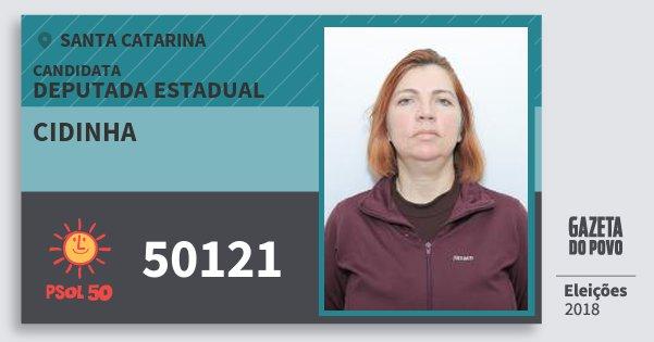 Santinho Cidinha 50121 (PSOL) Deputada Estadual | Santa Catarina | Eleições 2018