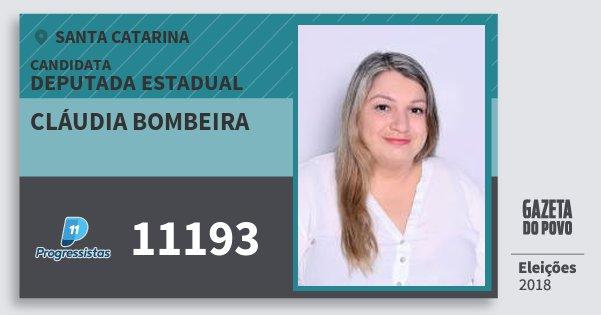 Santinho Cláudia Bombeira 11193 (PP) Deputada Estadual | Santa Catarina | Eleições 2018