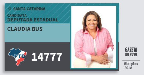 Santinho Claudia Bus 14777 (PTB) Deputada Estadual | Santa Catarina | Eleições 2018