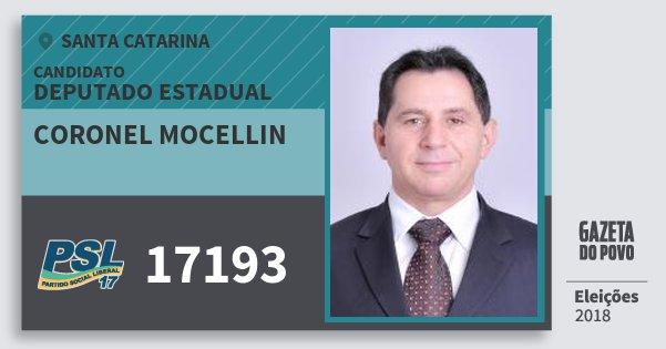 Santinho Coronel Mocellin 17193 (PSL) Deputado Estadual | Santa Catarina | Eleições 2018
