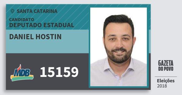 Santinho Daniel Hostin 15159 (MDB) Deputado Estadual | Santa Catarina | Eleições 2018