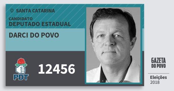 Santinho Darci do Povo 12456 (PDT) Deputado Estadual | Santa Catarina | Eleições 2018