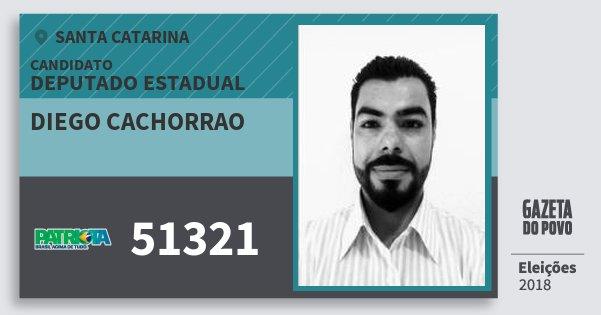 Santinho Diego Cachorrao 51321 (PATRI) Deputado Estadual | Santa Catarina | Eleições 2018
