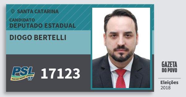 Santinho Diogo Bertelli 17123 (PSL) Deputado Estadual | Santa Catarina | Eleições 2018