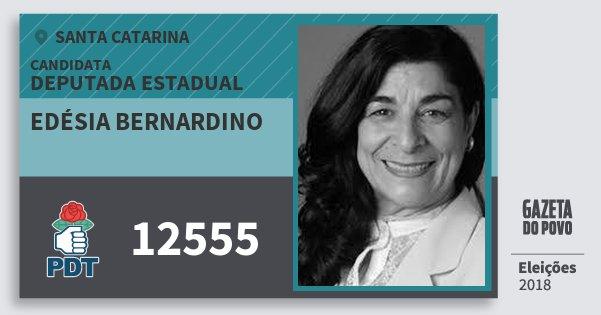 Santinho Edésia Bernardino 12555 (PDT) Deputada Estadual | Santa Catarina | Eleições 2018
