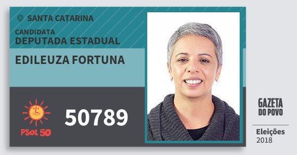 Santinho Edileuza Fortuna 50789 (PSOL) Deputada Estadual   Santa Catarina   Eleições 2018