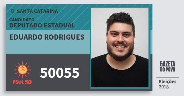 Santinho Eduardo Rodrigues 50055 (PSOL) Deputado Estadual | Santa Catarina | Eleições 2018
