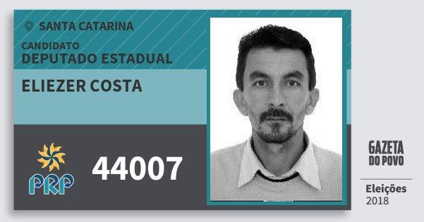 Santinho Eliezer Costa 44007 (PRP) Deputado Estadual | Santa Catarina | Eleições 2018