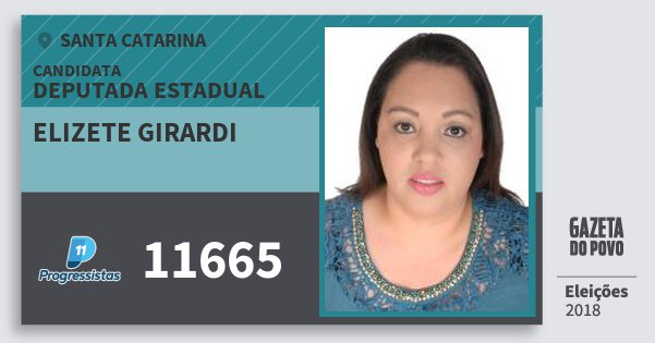 Santinho Elizete Girardi 11665 (PP) Deputada Estadual | Santa Catarina | Eleições 2018