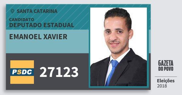 Santinho Emanoel Xavier 27123 (DC) Deputado Estadual | Santa Catarina | Eleições 2018